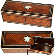 Antique French Kingwood Gloves, Desktop or Jewelry, Documents Box, Casket, Marquetry