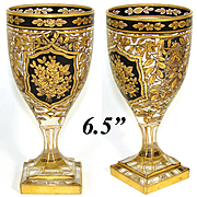 "Fabulous Antique to Vintage French Cut Glass 6.5"" Wine Hock, Goblet: Ornate Gold & Black Enamel Decoration"