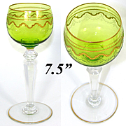Elegant Saint Louis Crystal Chartreuse to Clear Gold Enamel Encrusted Wine Hock, Goblet