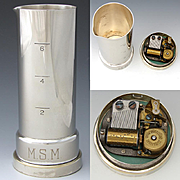 "Vintage Napier Silver Plate Musical Liquor Jigger, Measuring Cup, Reuge Music Box ""How Dry I Am"""
