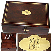 "Elegant Antique French Rosewood & Brass Inlay 12"" Playing Card, Work or Sewing Box, Lock & Key"
