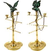 Antique French Napoleon III Era Bronze Ring Tree, Jewelry Holder in form of a Bird Stand with Bronze Parrot