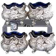 Gorgeous Antique French Sterling Silver 4pc Open Salt Set, Ornate Rococo Style, Cobalt Glass Inserts