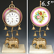 Antique French Napoleon III Era Palais Royal Style Pocket Watch Display, Elephant Figural