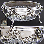 Antique French Sterling Silver & Cut Glass Candies or Bonbon Dish, Figural Ram's Heads, Hoof Feet