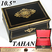 "Elegant Antique French TAHAN Marked 10.5"" Jewelry Box, Casket, Serpentine Shape with Boulle Inlay"