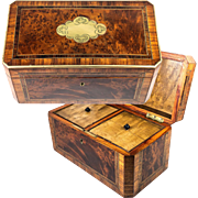 Antique French Napolen III Era Double Well Tea Caddy, Elegant Exotic Wood Box, Brass Trim, Inlay