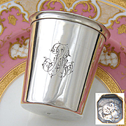 """Fine Antique French Sterling Silver Wine or Mint Julep Cup, Tumbler or Timbale: """"RR"""" Monogram"""