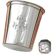 "Fine Antique French Sterling Silver Wine or Mint Julep Cup, Tumbler or Timbale: ""RR"" Monogram"