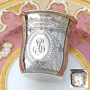 """Antique French Sterling Silver Wine or Mint Julep Cup, Tumbler or Timbale, Guilloche Style, """"BG"""" Monogram"""