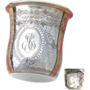 "Antique French Sterling Silver Wine or Mint Julep Cup, Tumbler or Timbale, Guilloche Style, ""BG"" Monogram"