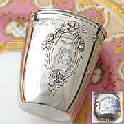 """Antique French Sterling Silver Wine or Mint Julep Cup, Tumbler or Timbale: Floral Medallion with """"RC"""" Monogram"""