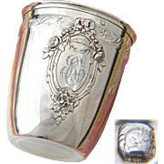 "Antique French Sterling Silver Wine or Mint Julep Cup, Tumbler or Timbale: Floral Medallion with ""RC"" Monogram"