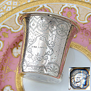 """Antique French Sterling Silver Wine or Mint Julep Cup, Tumbler or Timbale, Guilloche Style, """"J.M.B. Gabion"""" Inscription"""