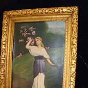 19c English Oil On Canvas Woman Picking Blossoms Gilt Frame