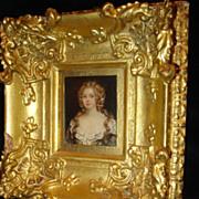Miniature Georgian Portrait On Tin Of Woman