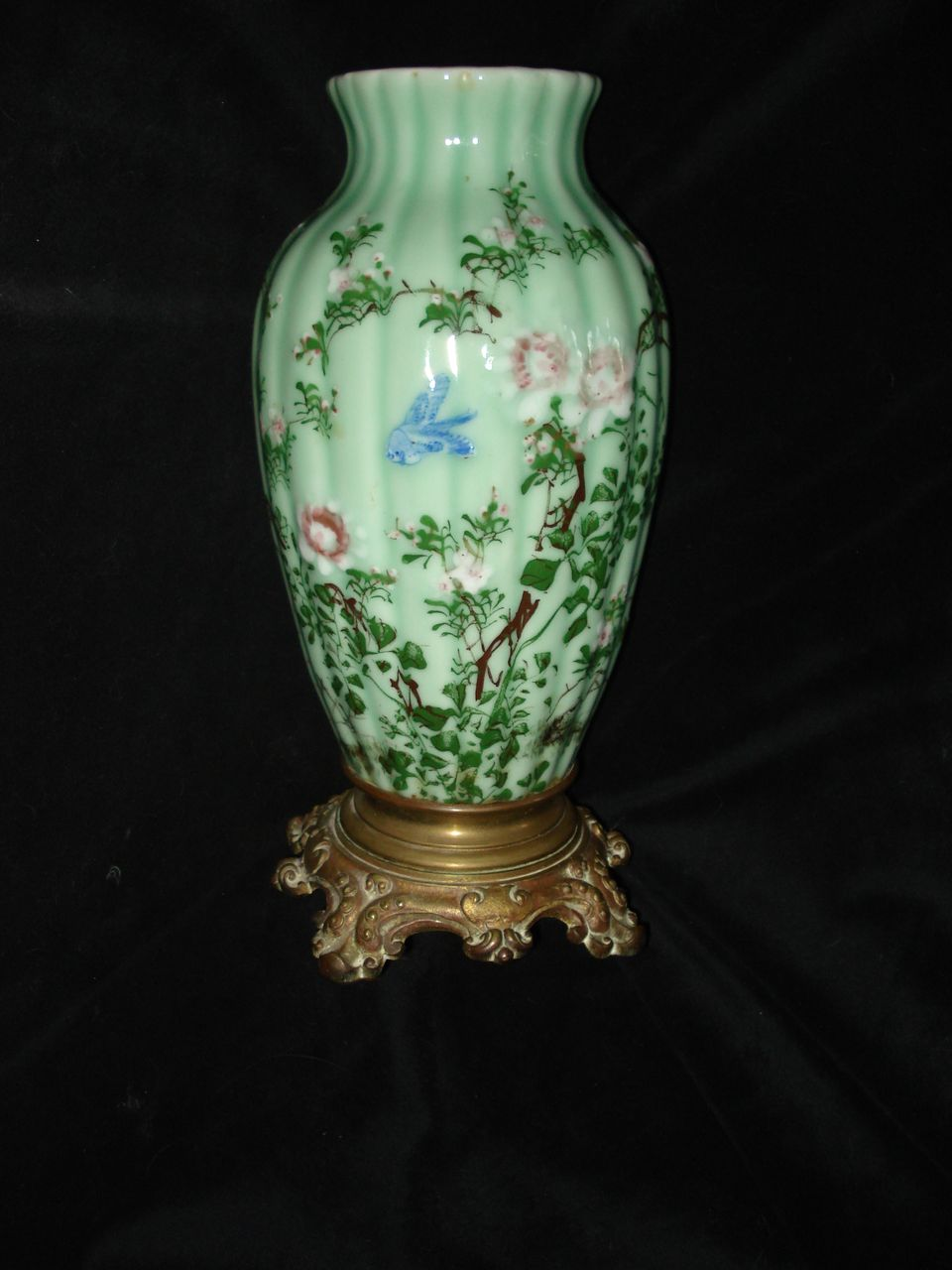 French Hand painted Glass Large Glass Vase III Empire