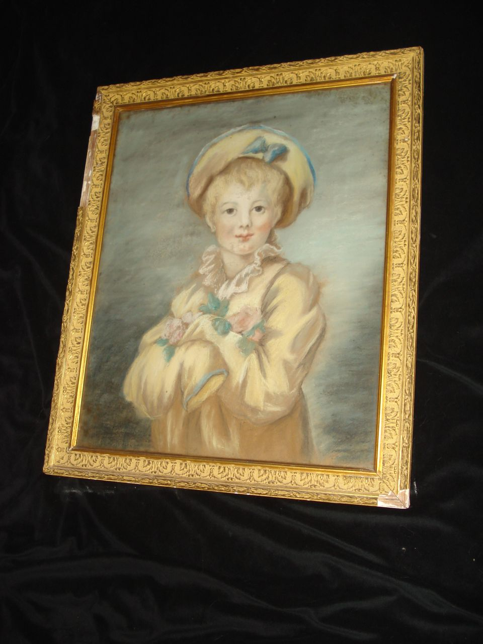 French Pastel Portrait Of Young Boy