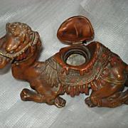 Vintage Camel Cast Spelter Inkwell