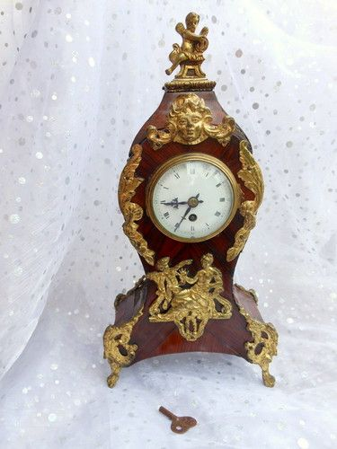 French Cartel Ormolu Marquetry clock