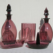 Amethyst Coloured Glass Vanity Set