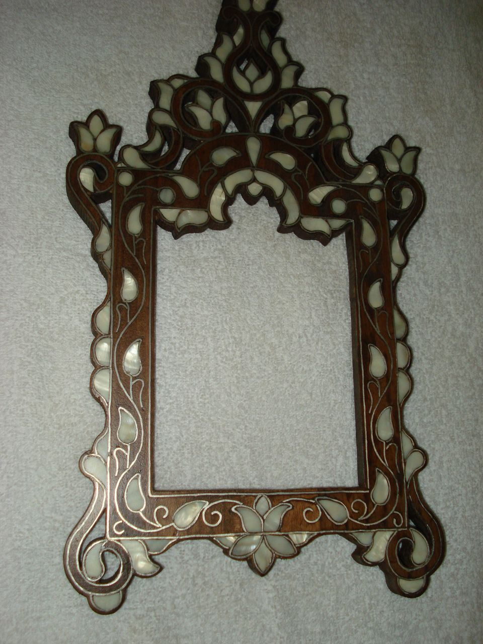 Folk Art Rosewood and Mop Picture Frame