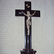 Old French Bronze Alter Crucifix