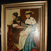 Three Women In Church Painting