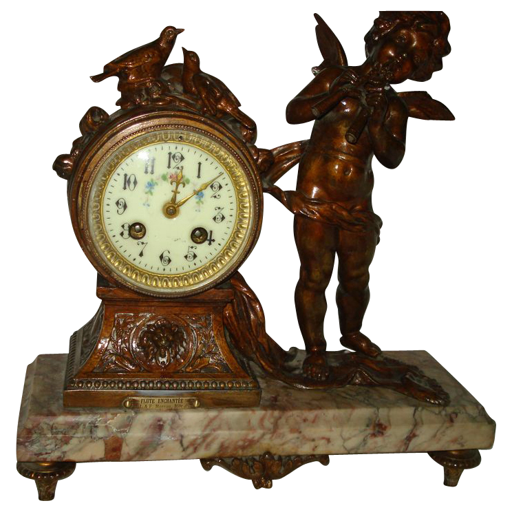 French Bronze Cupid Clock signed Moreau