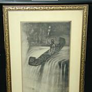 Rare Original Signed Etching Of Indian Maiden Jopling