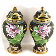 Vintage Pair Cloisonne Floral Urns