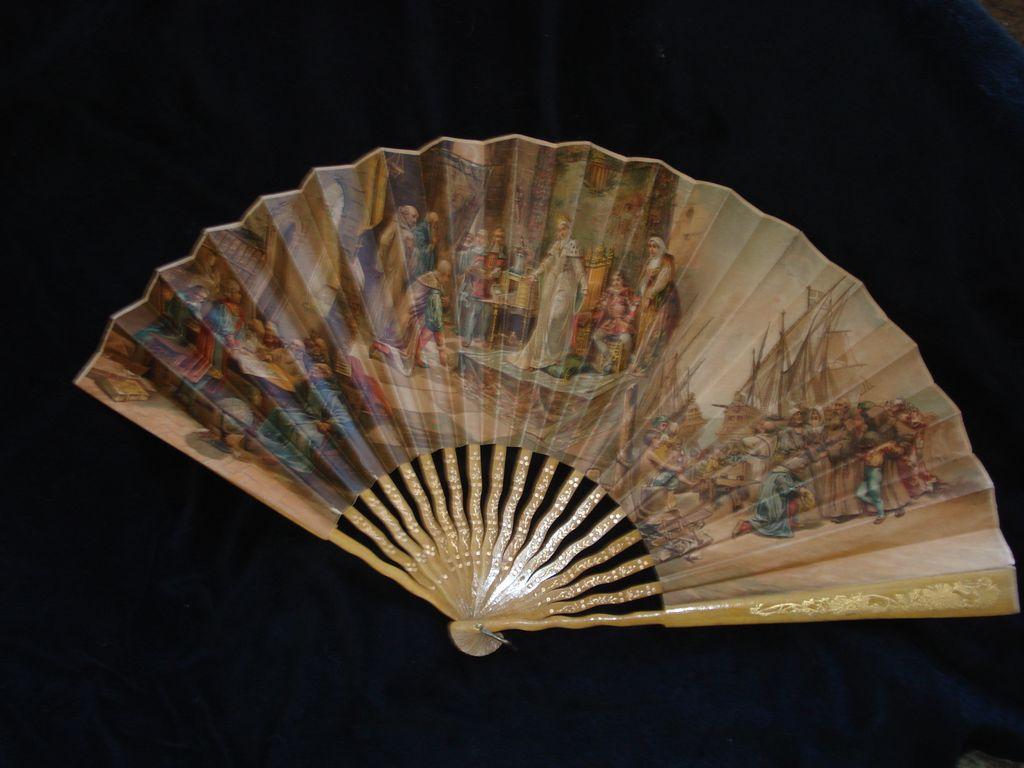 Rare Spanish Victorian Fan Columbus Genre