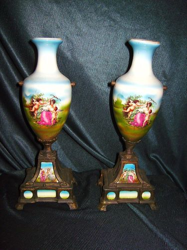 French Porcelain Ormolu Urns
