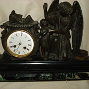 French Bronze Angel Clock - Red Tag Sale Item