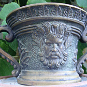 French Bronze Verrier Signed Greenman Mortar