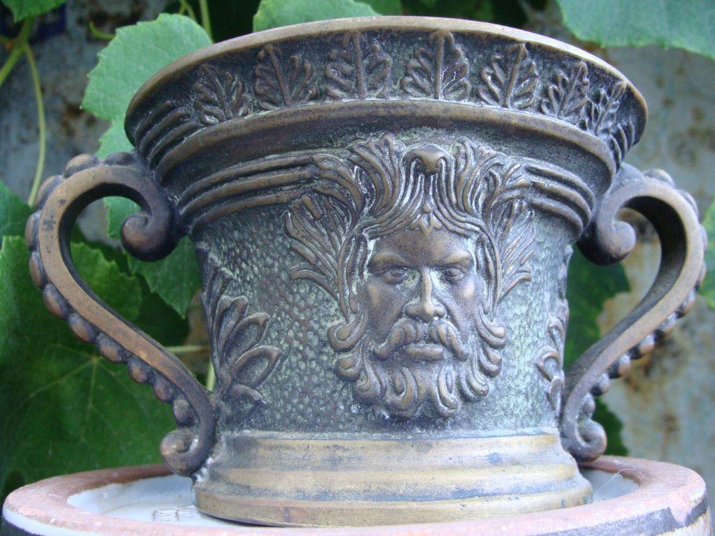 French Bronze Verrier Signed Greenman Mortar