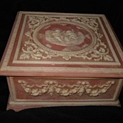 Vintage Pink Incolay Carved  Music Box
