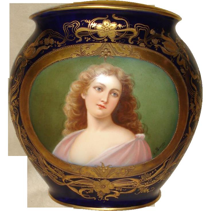 Royal Vienna Hand Painted Cobalt Portrait Vase