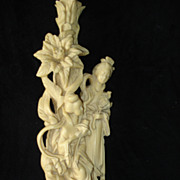 Asian Hand Carved Lamp Of Two Geishas