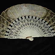 19thc French  Hand Painted Muse Hand Fan