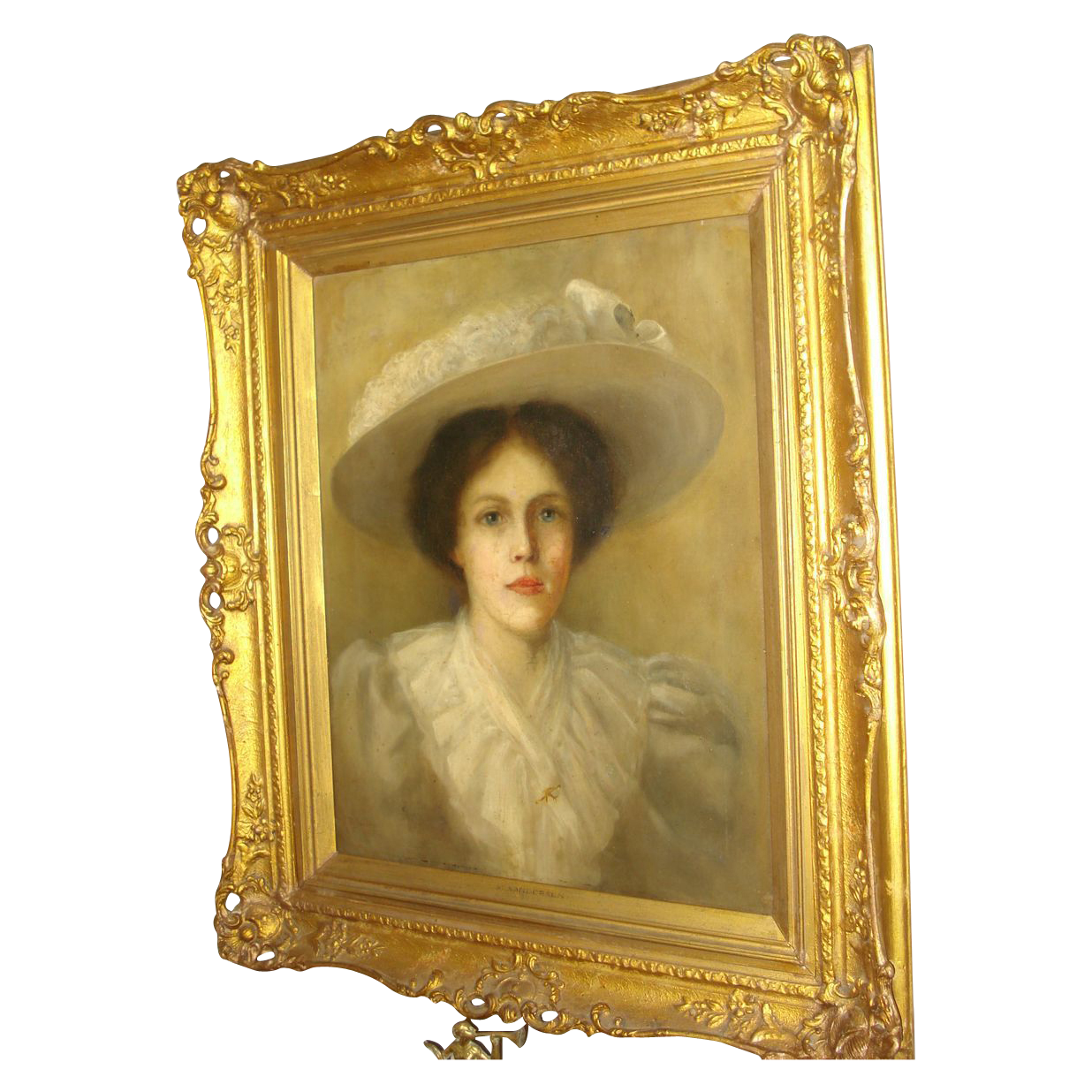 Oil on Canvas Of Woman In Hat