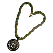 Peridot Spiral Weave Swarovski Crystal Necklace