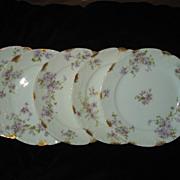 Set of 5 Haviland Tarascon Violet Salad Plates