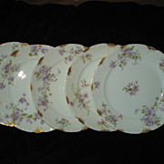 Set of 5 Haviland Tarascon Violet Salad Plates