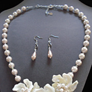 Shell Floral Necklace and Earrings