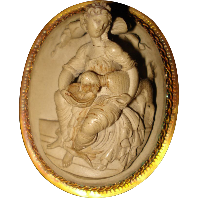 High Relief Antique Lava Cameo