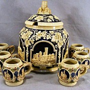 German Relief Punch Bowl and Cups
