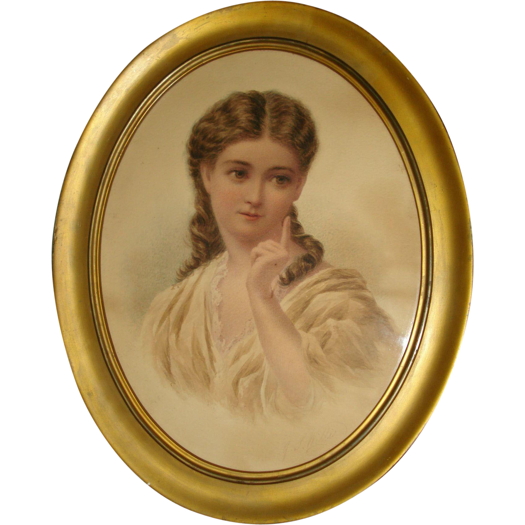 Water Colour Painting of Young Woman