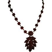 Bohemian Garnet  Floral Pendant Brooch Necklace