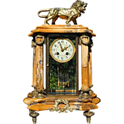 French Marble Mantle Lion Clock c19th